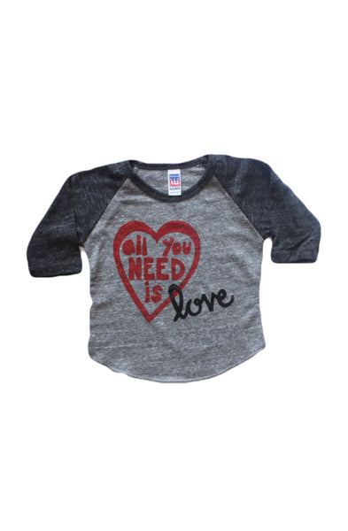 All You Need Is Love | Tri-Blend Baseball Raglan T-shirt | Baby, Toddler, Youth - Beautiful Melody Designs  - 1