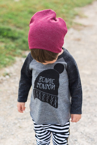 Beanie Season | Tri-Blend Baseball Raglan T-Shirt | Baby, Toddler, Youth - Beautiful Melody Designs  - 1