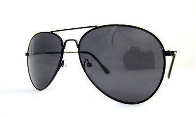 Black Frame and Lens Aviator Sunglasses Dark Tint UV400 -  - Sunglasses - Raintopia