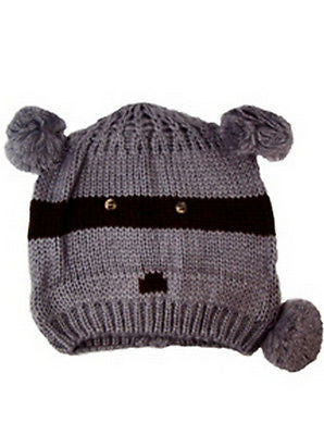 Knitted Grey Raccoon Animal Beanie Hats One Size - - Hats - Raintopia 4e3d702c8d68