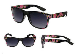 Rose Print Design Black Frame Wayfarer Sunglasses Purple Tint Lens -  - Sunglasses - Raintopia