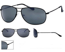 Full Mens Classic Style Sunglasses Smokey Tint Lens Black Metal Frame UV400 NWT -  - Sunglasses - Raintopia