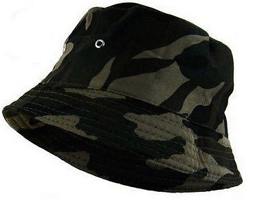 Men's 'Dark Retro' Camouflage Reversible Bush/Bucket Hat One Size -  - Hats - Raintopia