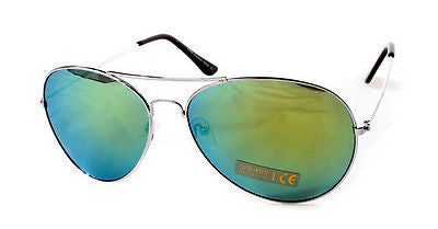 Green Spectrum Aviator Sunglasses Grey Tint Lens Silver Frame With Pouch BNWT -  - Sunglasses - Raintopia