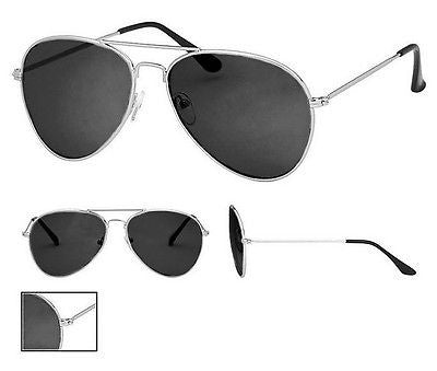 Black Lens Aviator Sunglasses Silver Frame With Pouch Retro 100% UV400 Metal NWT -  - Sunglasses - Raintopia