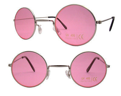 Small Round Lennon Style Sunglasses Pink Lens and Tint Silver Frame -  - Sunglasses - Raintopia - 1