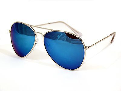 Blue Mirrored Lens Aviator Sunglasses Dark Tint Lens Silver Frame UV400 -  - Sunglasses - Raintopia