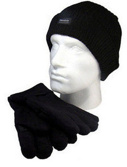 Beanie Hat & Glove Set Thinsulate Insulation 40g Black One Size -  - Gloves & Mittens - Raintopia