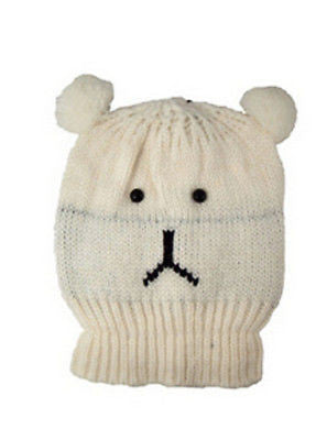 Knitted White Bear Animal Beanie Hats One Size -  - Hats - Raintopia