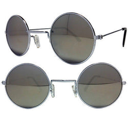 Small Round Lennon Style Sunglasses Silver Mirror Lens and Frame Dark Tint -  - Sunglasses - Raintopia - 1
