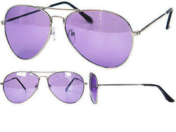 Purple Lens and Tint Aviator Sunglasses Silver Frame -  - Sunglasses - Raintopia