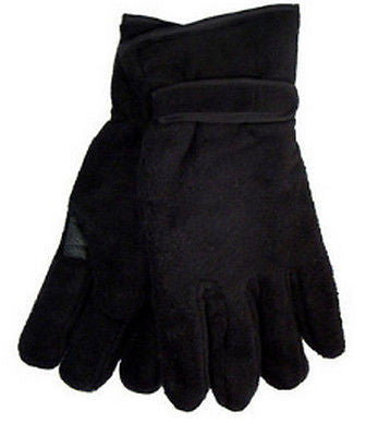 Mens Black Polar Fleece Gloves Soft Feel Thinsulate Lining Size L/XL -  - Gloves & Mittens - Raintopia