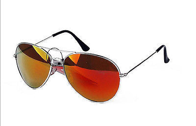 Orange Spectrum Lens Aviator Sunglasses Silver Frame with Pouch UV400 -  - Sunglasses - Raintopia