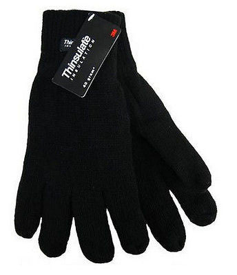 Mens Knitted Acrylic Black Gloves Soft Feel Thinsulate Lining Size M/L -  - Gloves & Mittens - Raintopia