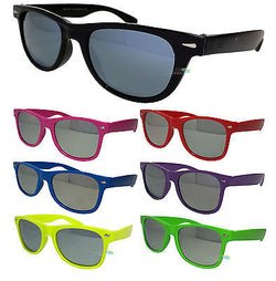 Mens Womens Wayfarer Sunglasses Colour Frame Mirror Lens UV400 One Size -  - Sunglasses - Raintopia - 1