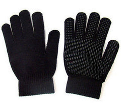 Black Gripper Magic Stretch Gloves Acrylic Thermal One Size -  - Gloves & Mittens - Raintopia