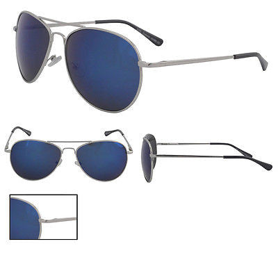 Blue Mirror Aviator Sunglasses Spring Hinge Silver Frame with Pouch -  - Sunglasses - Raintopia