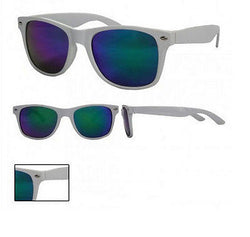 White Frame Wayfarer Sunglasses Blue/Green Spectrum Mirror Lens UV400 -  - Sunglasses - Raintopia