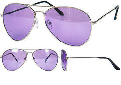 Full Purple Tint Aviator Sunglasses Silver Frame with Black Pouch UV400 -  - Sunglasses - Raintopia