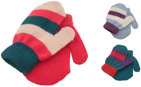 Striped Babies/Toddlers Mittens 2 Pack Available In 3 Colours One Size -  - Gloves & Mittens - Raintopia - 1