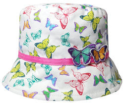 Girls Butterfly Print and Detail Bucket Hat -  - Hats - Raintopia - 1