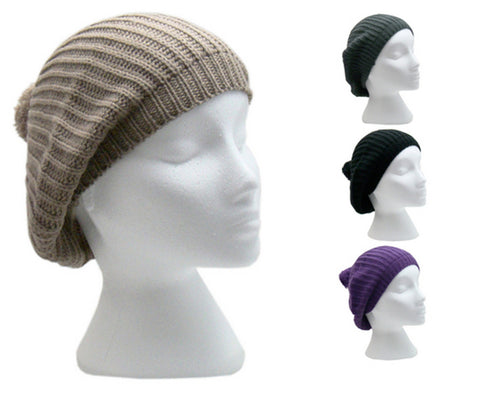 Ladies Colourful Knitted Beret Beanie Hat with Pom-Pom -  - Hats - Raintopia - 1