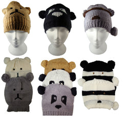 Ladies Fun Knitted Animal Beanie Hats One Size -  - Hats - Raintopia - 1