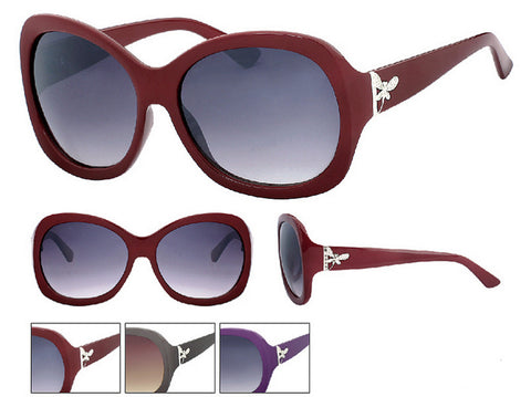 Fashion Sunglasses Dragonfly Design Grey Purple Red with Pouch UV400 -  - Sunglasses - Raintopia - 1