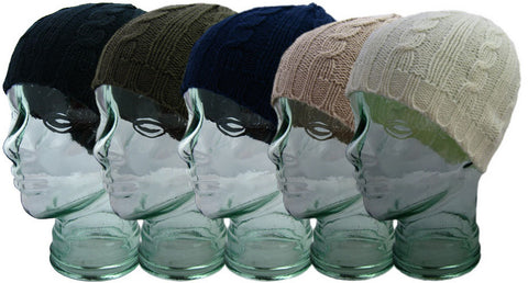 Ladies Chunky Cable Knitted Beanie Hat Arcrylic -  - Hats - Raintopia - 1