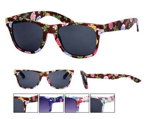 Colour Floral Frame Wayfarer Sunglasses Dark Lens UV400 -  - Sunglasses - Raintopia - 1