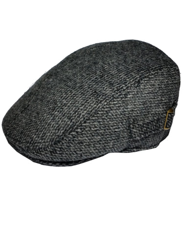 Men's Dark Grey Padded Country Tweed Flat Cap -  - Hats - Raintopia - 1