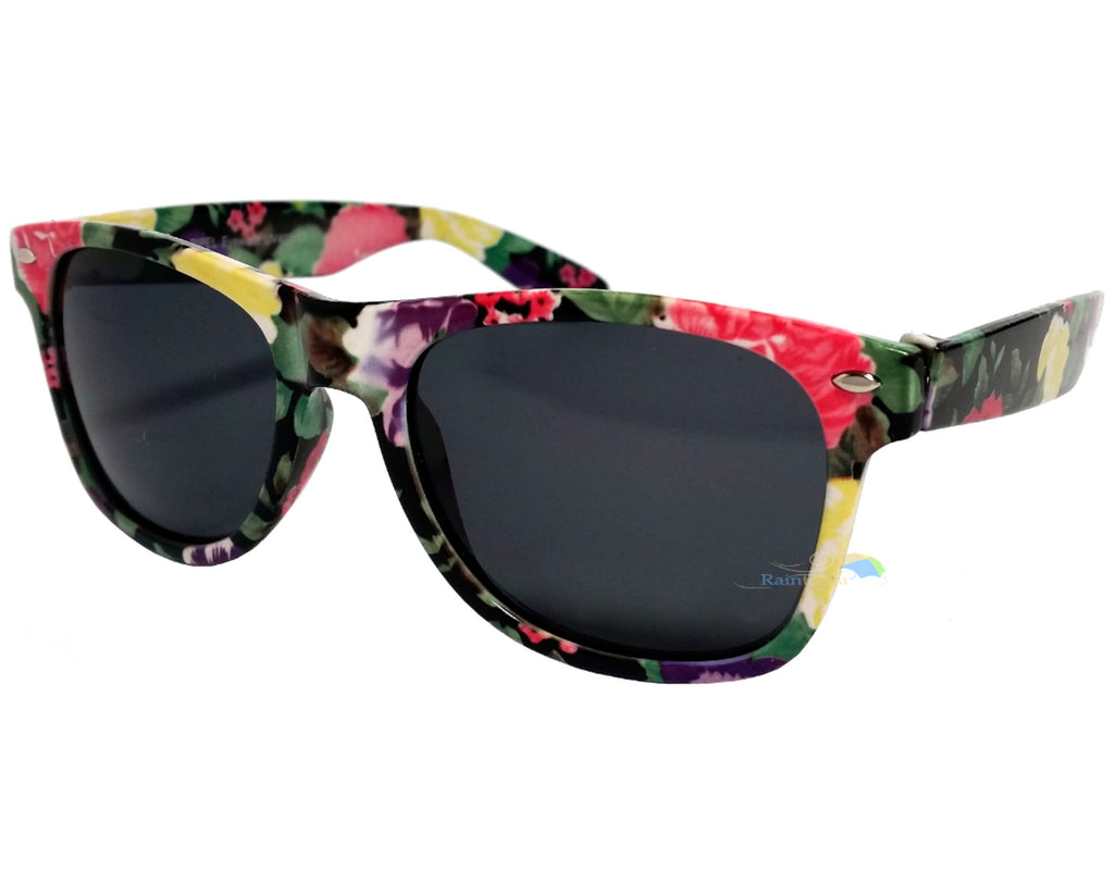 Black Floral Frame Wayfarer Sunglasses Dark Lens -  - Sunglasses - Raintopia - 1