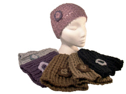 Ladies Chunky Cable Knit Beanie Hat 'Two Tone' Crochet Flower Acrylic -  - Hats - Raintopia - 1