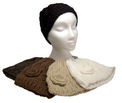 Womans Ladies Chunky Cable Knit Beanie Hat Crochet Flower Design Acrylic BNWT -  - Hats - Raintopia - 1
