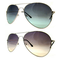 Gradient Tint Lens Aviator Sunglasses Silver Frame Pilot Retro UV400 -  - Sunglasses - Raintopia - 1
