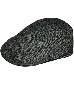 Men's Grey Padded Country Tweed Flat Cap -  - Hats - Raintopia - 1