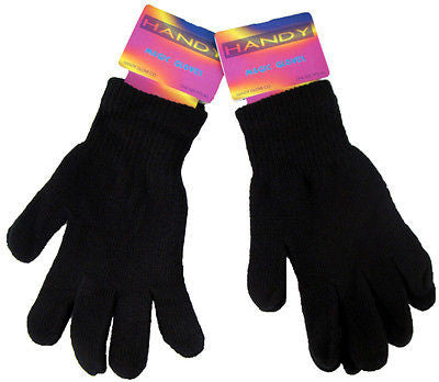 0aada610976 2 Pairs of Black Magic Gloves Thermal Stretchy Acrylic One Size - - Gloves    Mittens