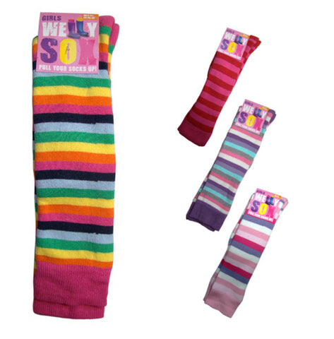 Girls Wellington Boot Socks Striped Design Cotton Welly Liner Knee High -  - Socks - Raintopia - 1