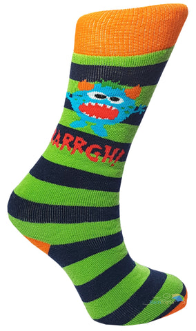 Boys 'Arrggh Monster' Design Striped Welly Socks -  - Socks - Raintopia - 1