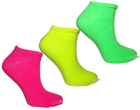 Ladies & Girls Plain Fluorescent Neon Trainer Socks (3 Pack) -  - Socks - Raintopia
