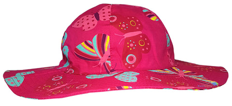 Girls Butterfly Design Sun Hat with Wide Brim (Pink) -  - Hats - Raintopia - 1