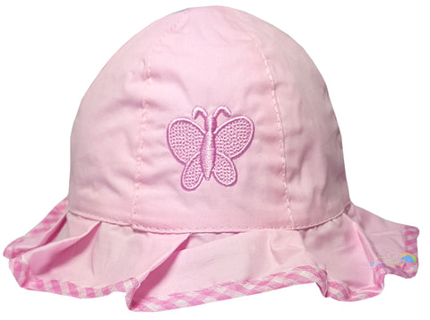 Girls Pink Butterfly Frill Sun Hat -  - Hats - Raintopia