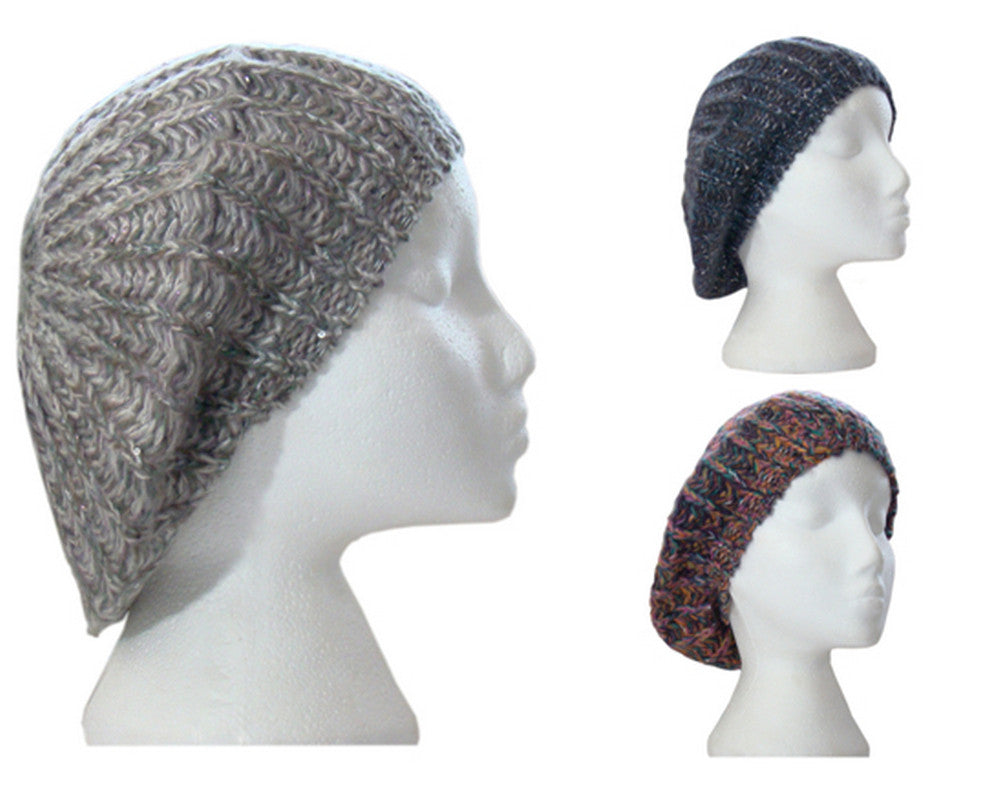 Ladies Knitted Rustic Beret Beanie Hat with Sequins Hawkins Collection -  - Hats - Raintopia - 1