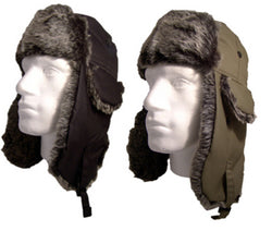 Deluxe Shower Proof Trapper Hat Faux Fur Black Khaki Winter Unisex -  - Hats - Raintopia - 1