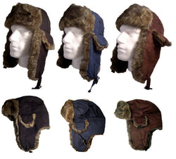 Faux Fur Suede Trapper Hat Black Blue Brown Colours Winter Unisex -  - Hats - Raintopia - 1