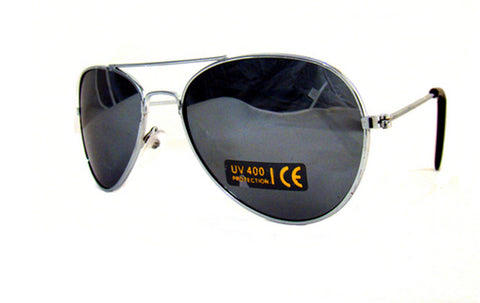 Top Gun Full Silver Mirror Lens Aviator Sunglasses with Pouch UV400 -  - Sunglasses - Raintopia - 1