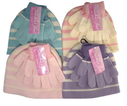 Girls Magic Striped Hat & Glove Set Assorted Colours -  - Hats - Raintopia - 1