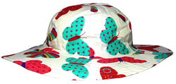 Girls Butterfly Design Sun Hat with Wide Brim (White) -  - Hats - Raintopia - 1