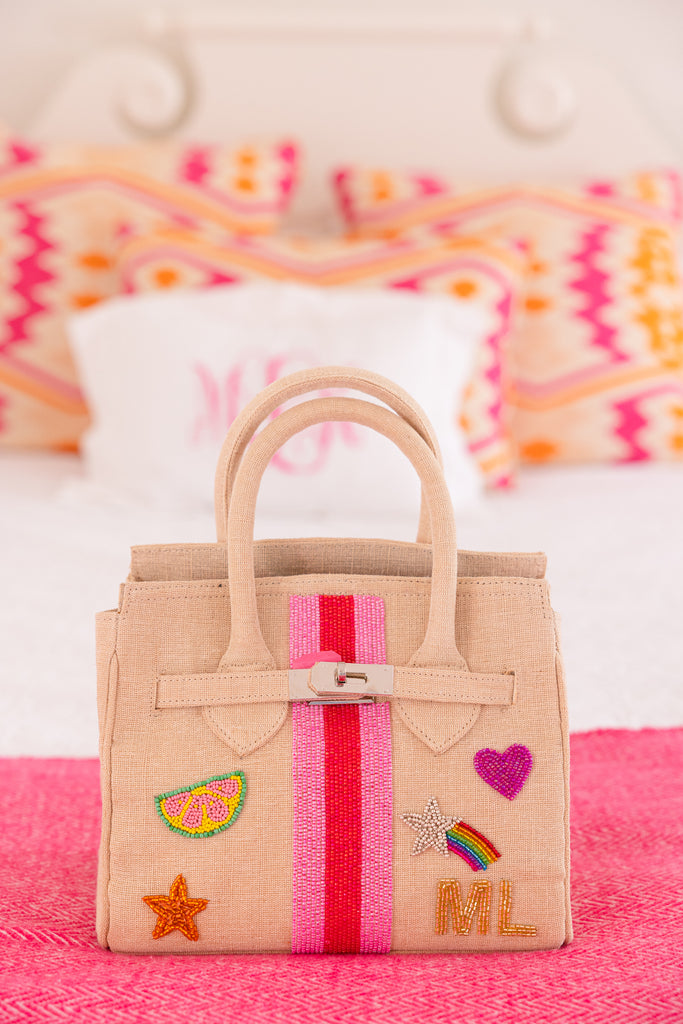 Custom Jute & Bead Handbag