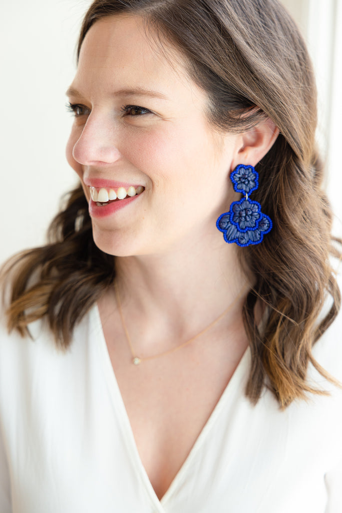 Navy Blue Raffia Flower Earrings